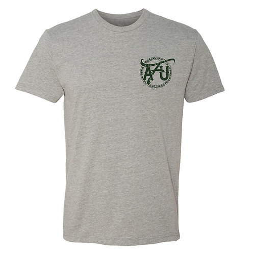 All For Us Classic Tee- Gray/Forest Green