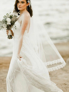Bridal Veil, Drop Veil, Chantilly Lace Veil, Lace Wedding Veil, Blusher Veil, Two Tier Veil, Ivory Wedding Veil, Circle Veil-ORCHID VEIL $375