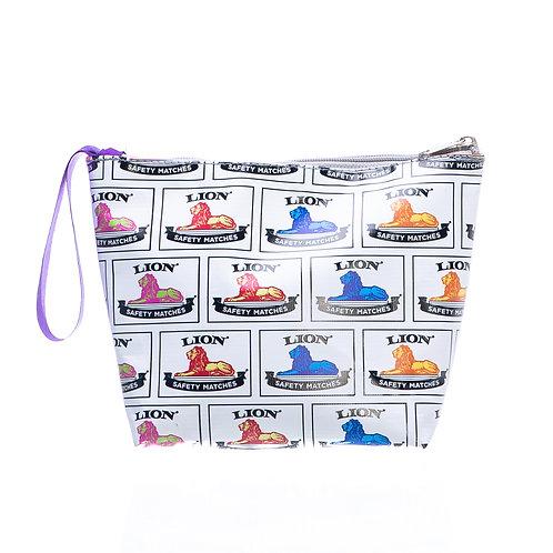 PVC Zip Pocket Bag - White Lion