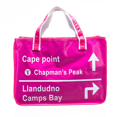 PVC Shopper Bag - Pink Road Sign