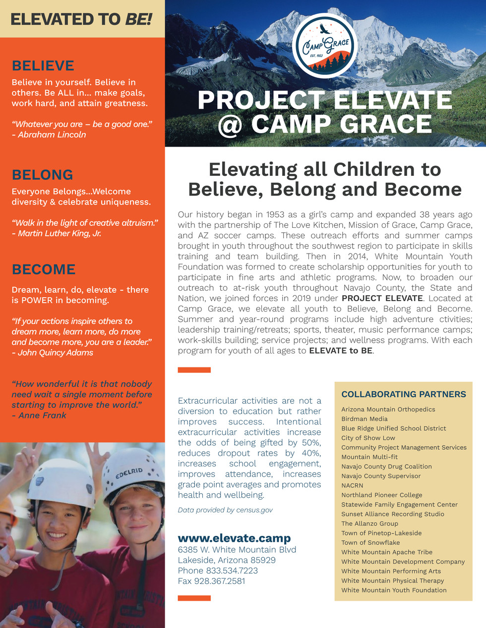 Elevate Youth Flyer Side B