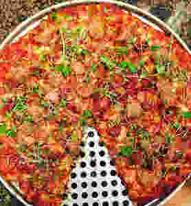 Pizza topped with our micro mix