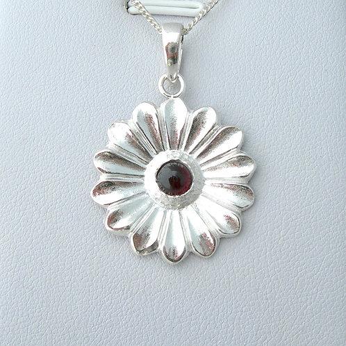 Garnet Daisy Pendant