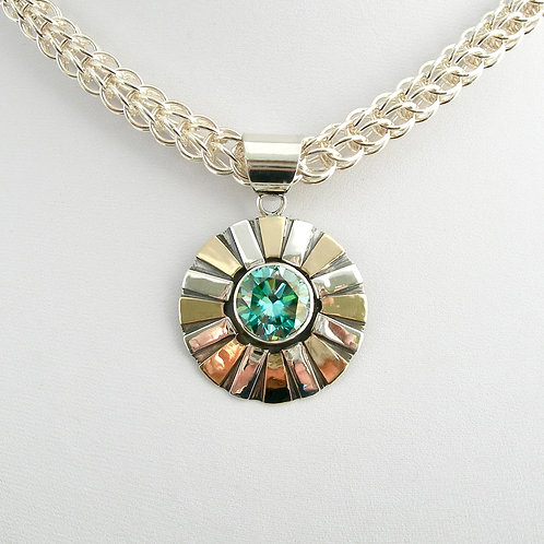 Moissanite Silver & Gold Necklace