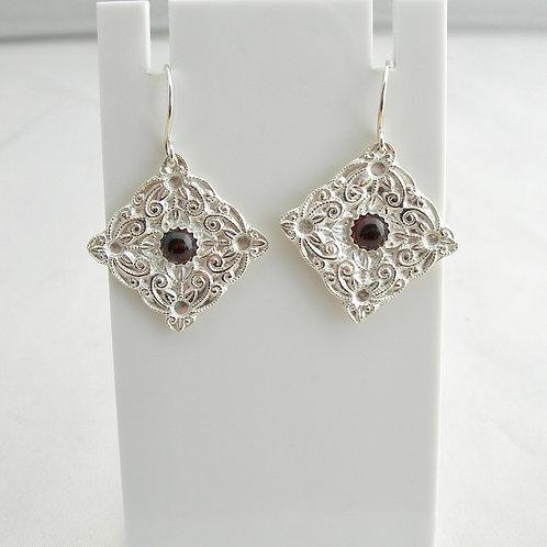 Fine Silver Garnet Earrings