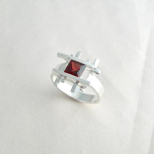 Fine Silver Garnet Ring