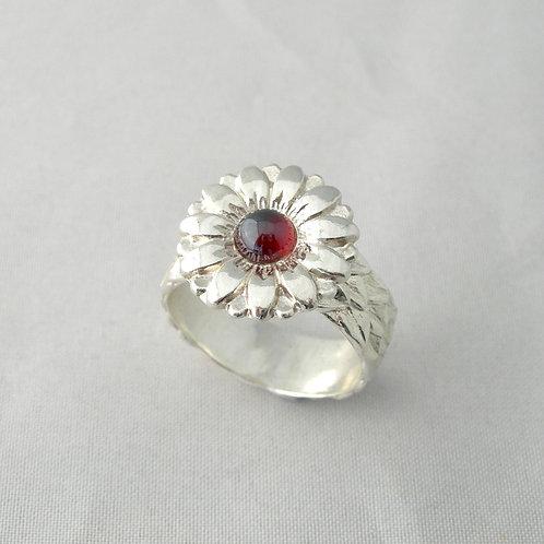 Garnet Daisy Ring