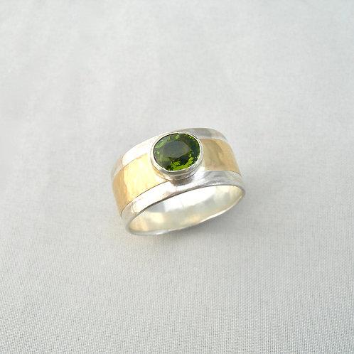 Tourmaline Silver & Gold Ring