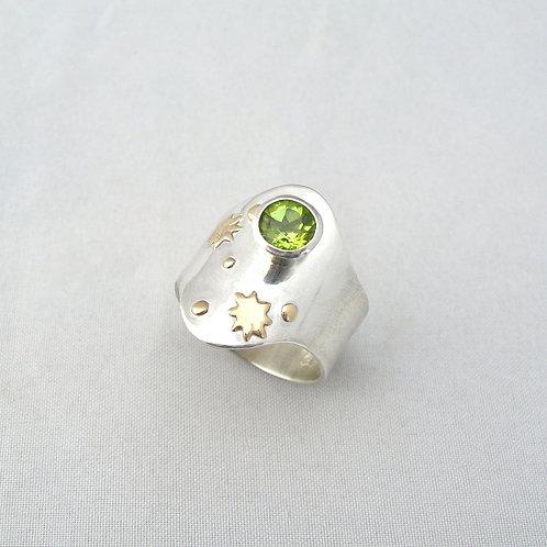 Peridot Silver & Gold Ring