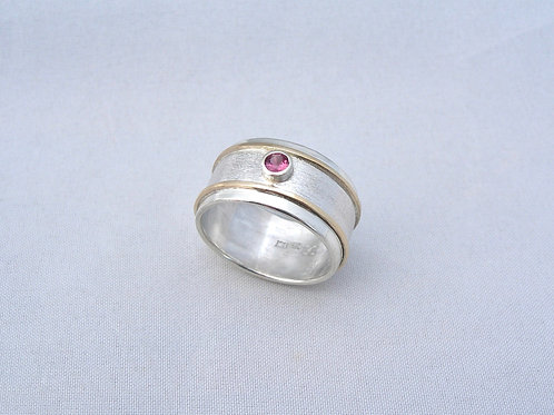 Spinel Silver & Gold Ring