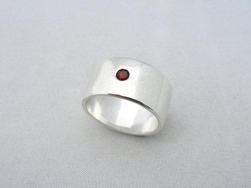 Garnet Brushed Ring
