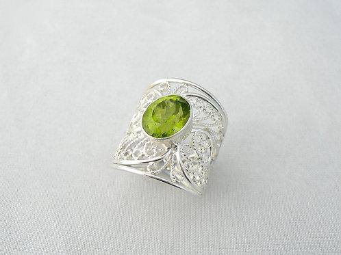 Peridot Filigree Ring