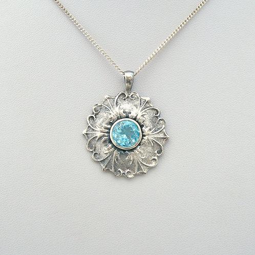Fine Silver Blue Topaz Pendant
