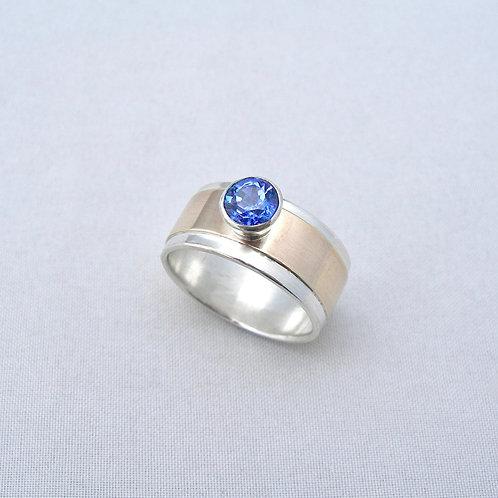 Tanzanite Silver & Gold Ring