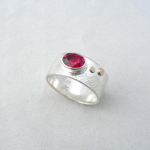 Rubelite Tourmaline Silver & Gold Ring