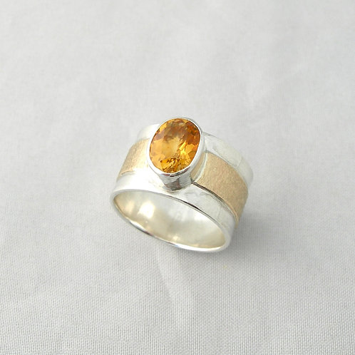 Citrine Silver & Gold Ring