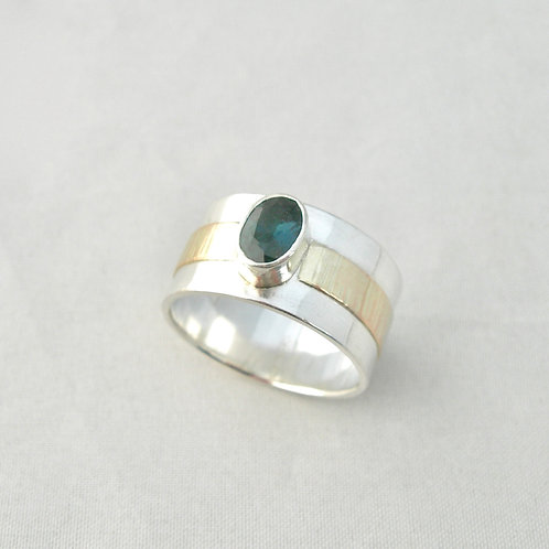 Blue Spinel Silver & Gold Ring
