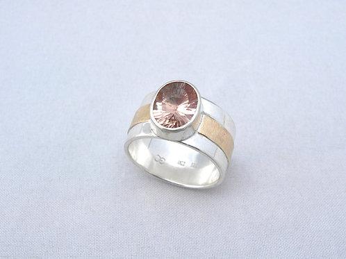 Morganite Silver & Gold Ring