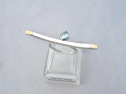 Moissanite Silver & Gold Ring