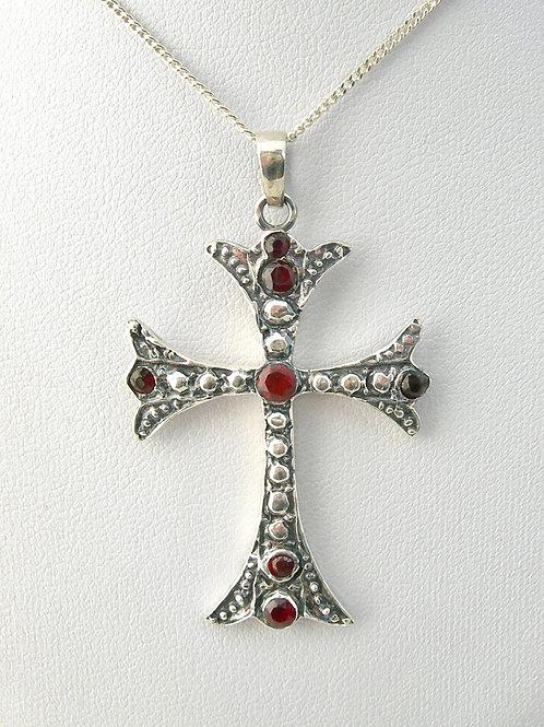 Fine Silver Garnet Cross Pendant