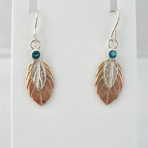 Silver & Gold Blue Topaz Earrings