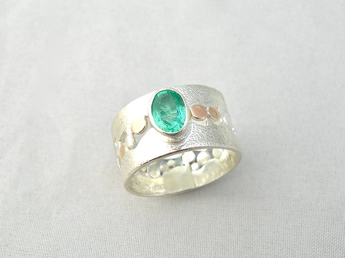 Emerald Silver & Gold Ring