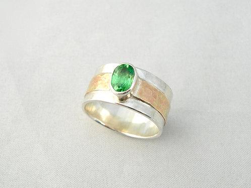 Tsavorite Garnet Silver & Gold Ring