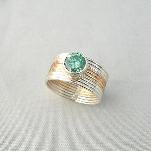 Moissanite Silver & Gold Ring