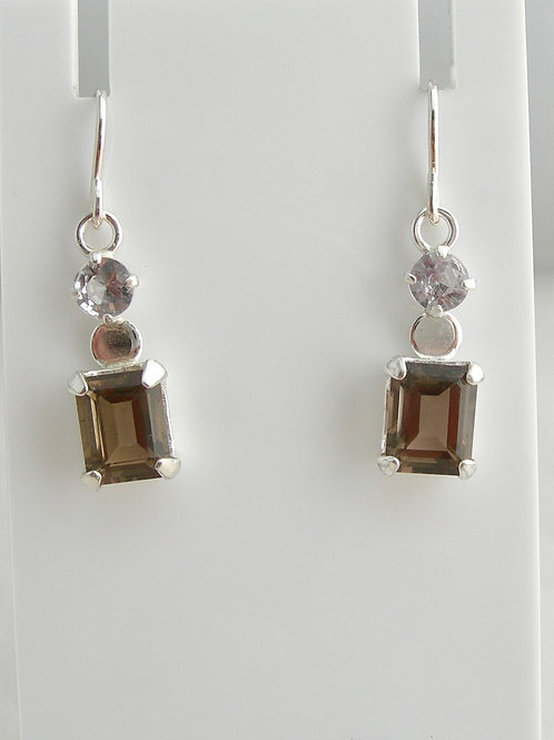 Smokey Quartz & Spinel Earrings