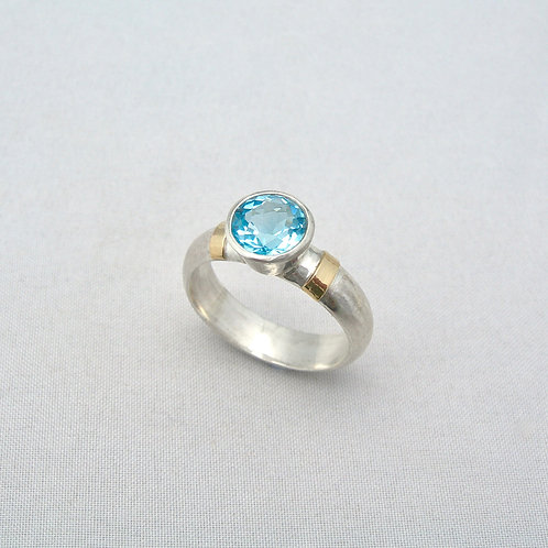 Blue Topaz Silver & Gold Ring