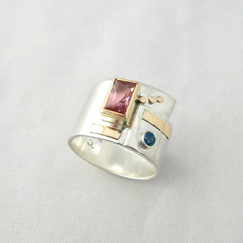 Tourmaline & Sapphire Silver & Gold Ring