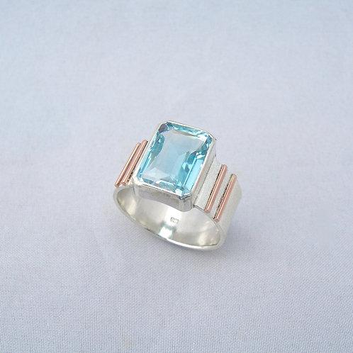 Natural Blue Topaz Ring