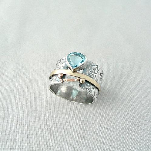 Aquamarine Silver & Gold Ring