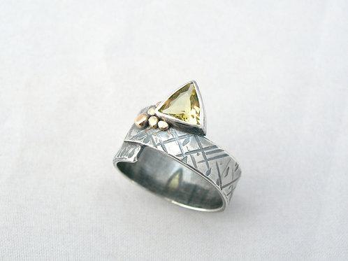 Yellow Beryl Silver & Gold Ring