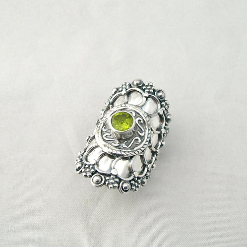 Peridot Shield Ring