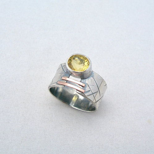 Yellow Beryl Silver & Gold Ring