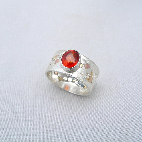 Garnet Silver & Gold Ring