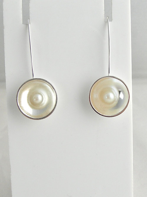 Pearl Disc Earrings