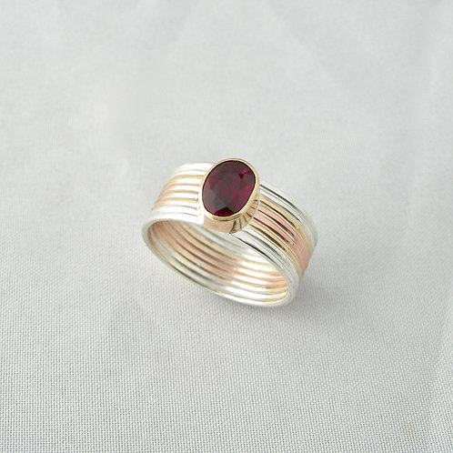 Ruby Silver & Gold Ring
