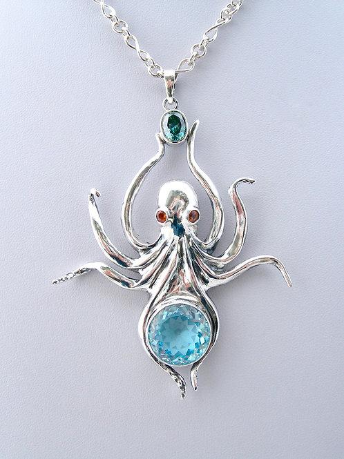 Fine Silver Octopus Necklace