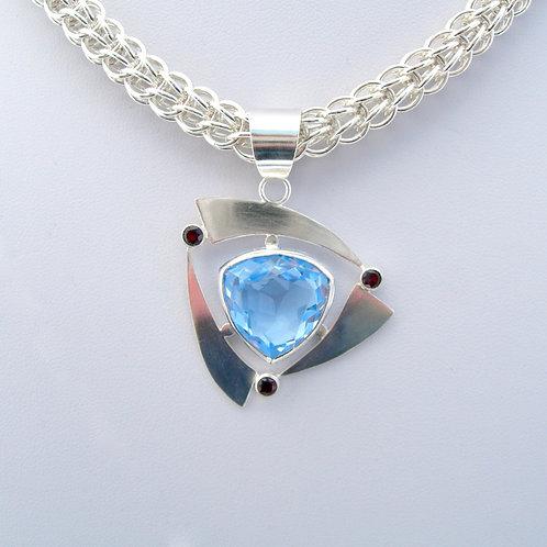 Blue Topaz & Garnet Necklace