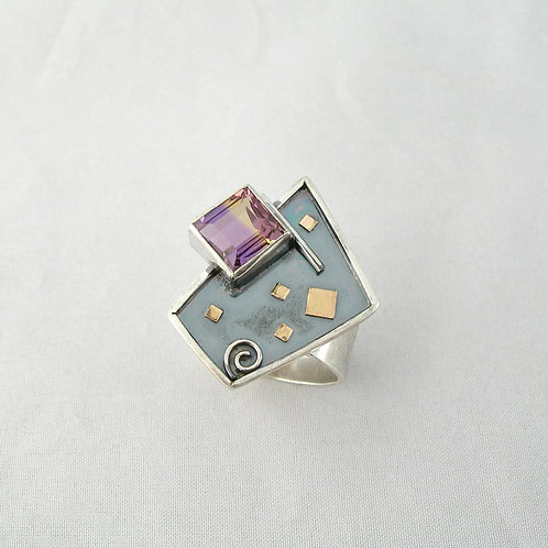 Ametrine Silver & Gold Ring
