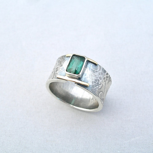 Tourmaline Silver & Gold Ring