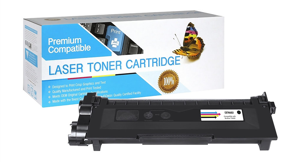 Brother TN630, TN660 Compatible JUMBO Toner- Black