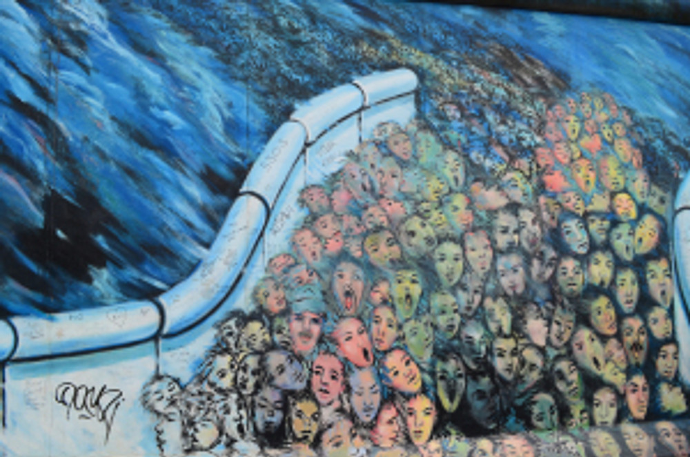 Detail from the East Side Gallery, Berlin.