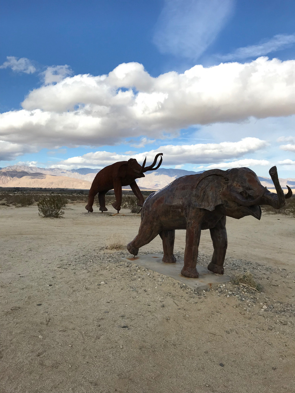 elephant sculptures in the desert