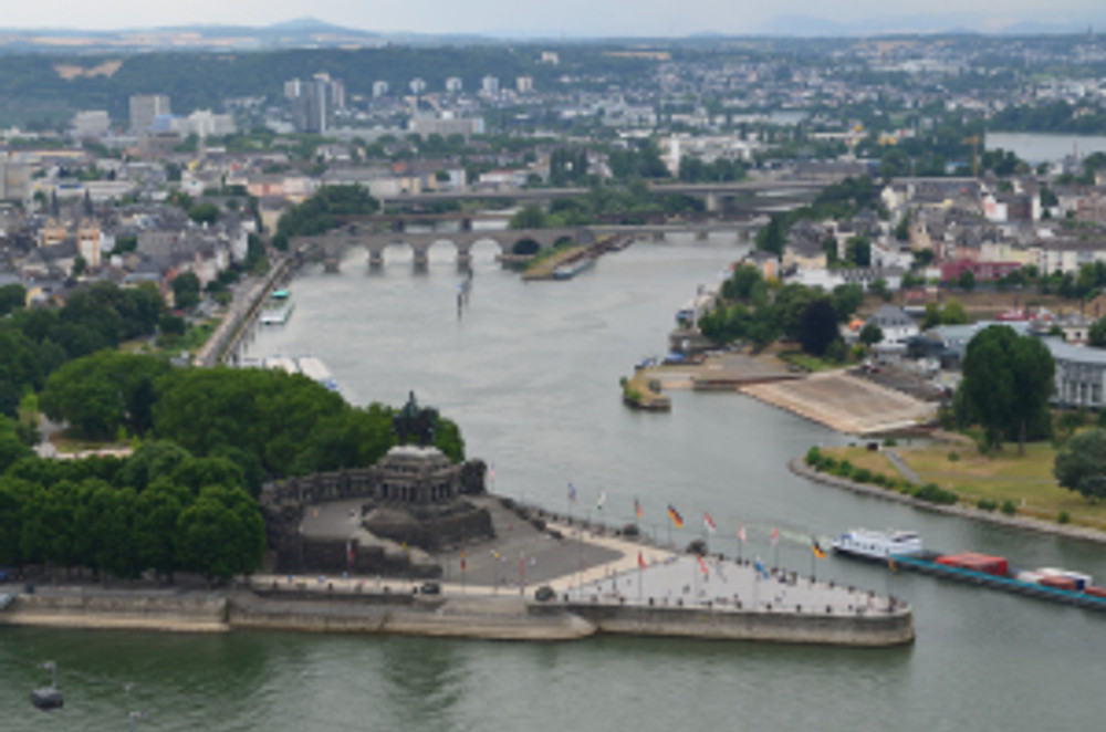 Koblenz, which sits at the confluence of the Rhine and Mosel Rivers.