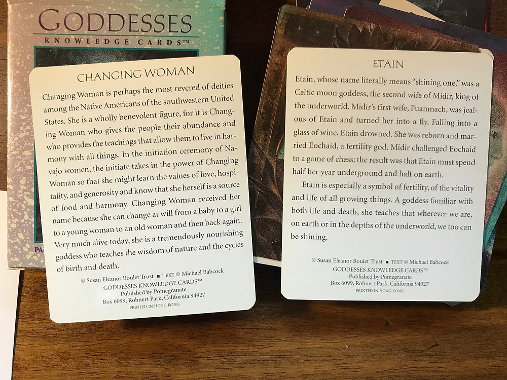 Changing woman and Etain Goddess cards