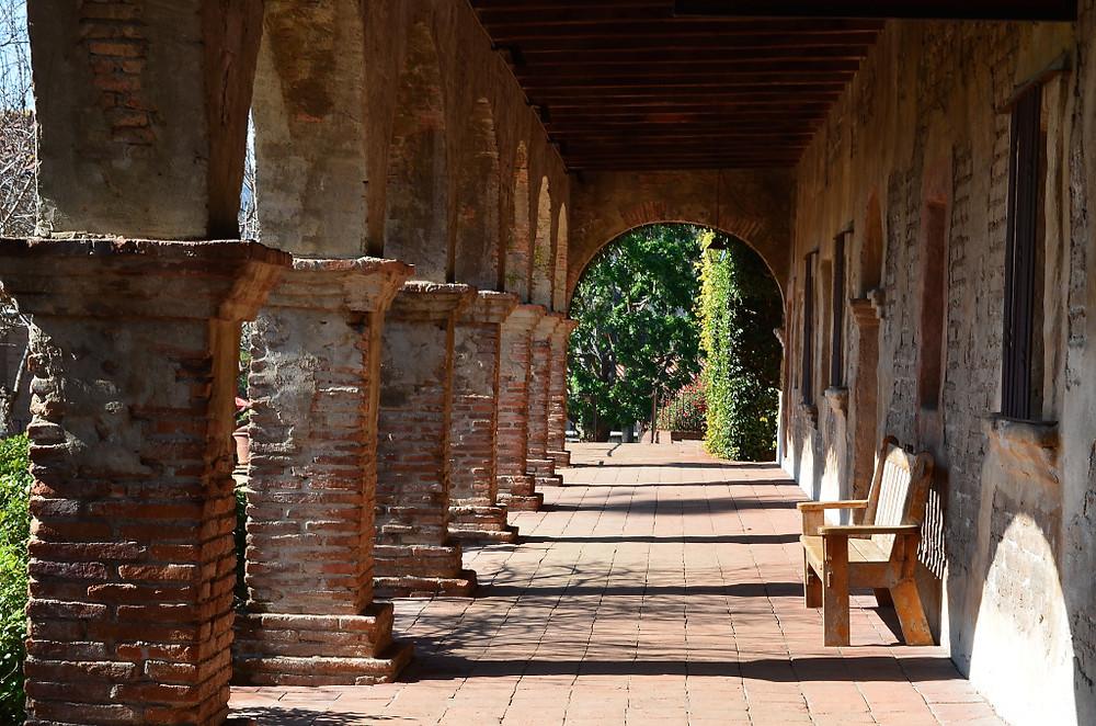 A walkway at the San Juan Capistrano Mission