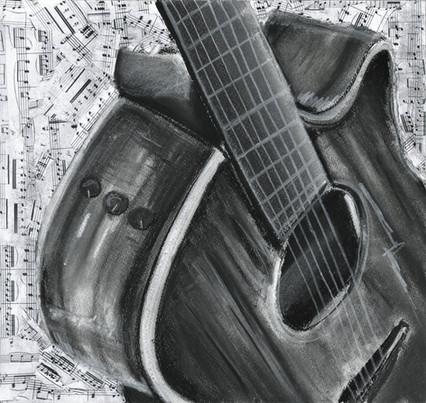 Guitar - Charcoal/Mix Media